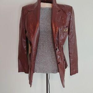Etienne Aigner Burgundy Genuine Leather Jacket